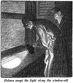 Holmes Examines A Windowsill At The Suspects Home From Colliers Weekly Dec 12 1908 Illustrated By Frederic Dorr Steele